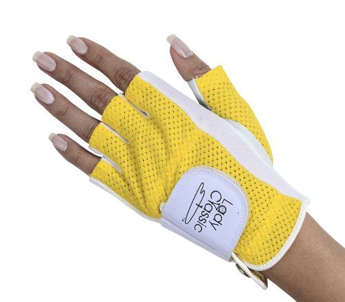Lady Classic Half Glove (Left Hand), White and Yellow, Large