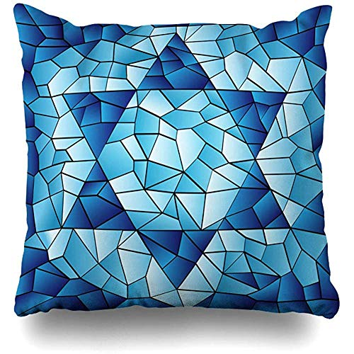 Throw Pillow Cover Square Pillowcase 18x18 Inch Blue Hanukkah Six Pointed Star Stained Chanukah Jewish David Passover Glass Window Pattern Design Zippered Cushion Pillow Case Home Decor