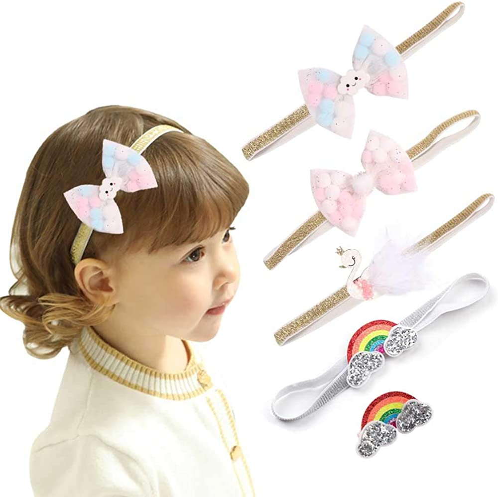 Baby Girl Bows Headband Hair Clip Set for Baby Girls Toddlers Infant Rainbow Swan Hairband Hairpin Hair Accessories,5 Pcs