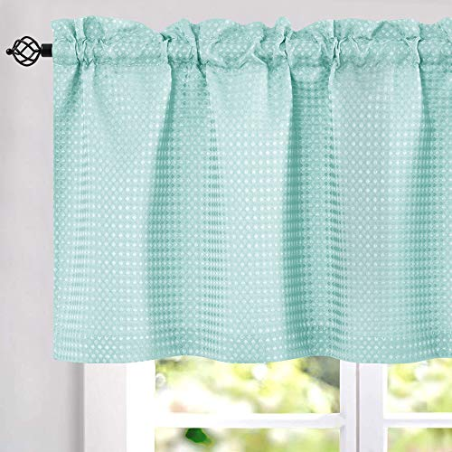 "Light Teal Short Aqua Curtains for Bathroom 24"" Water Repellent Waffle Weave Textured Tiers Window Covering for Kitchen Curtains 1 Pair"