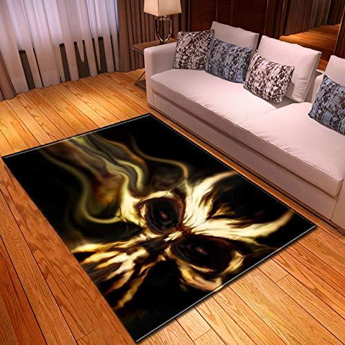 LGXINGLIyidian Casa Alfombra Serie De Calaveras De Muerte De Terror Creativo Alfombra Suave Antideslizante De Decoración del Hogar De Impresión 3D T-1046K 140X200Cm