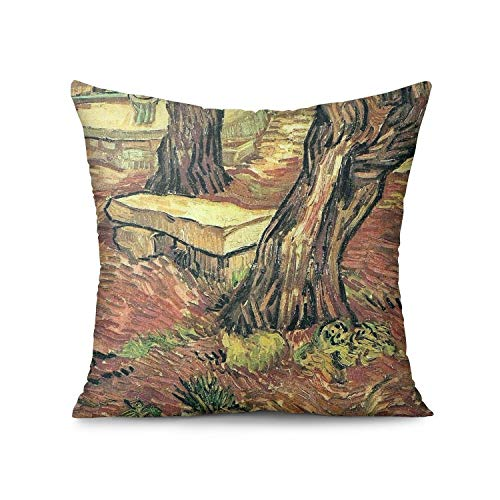 ALICRKP Throw Pillows Covers Van-Gogh-The-Stone-Bench-in-The-Garden-at-Saint-Paul-Hospital- Pillowcase Cushion Case for Living Room Sofa Pillows 18' 18'
