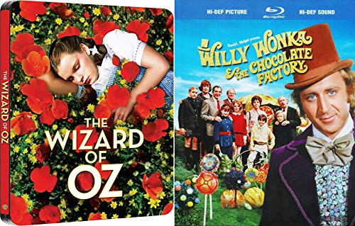 Wavy + Weird: Willy Wonka And The Chocolate Factory (Steelbook Blu-Ray W/ Limited Edition Booklet + Store Exclusive 80 Year Anniversary Steelbook Blu-Ray+ DVD The Wizard Of Oz Bundle