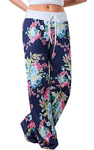 Angashion Damen Blumenmuster Weite Bein Lange Hose, Blau0447, EU L(38)