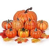 YQing Zucca Halloween Decorazioni Set Esterno Interno Autunno Decorazioni Zucca Decorativa Grande Mini Zucche Artificiali Pumpkin Decor Halloween Festa Ringraziamento Decorazione (Arancione A, 8Pcs)