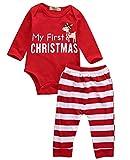 MoccyBabeLee - Tutina a righe a maniche lunghe, per neonato, 3 pezzi, per autunno e inverno, set di vestiti Il mio primo Natale-c 3 mesi