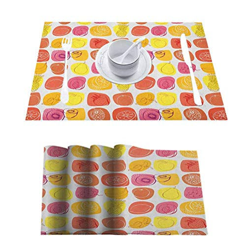 L'sWOW Washable Non-Slip Heat Resistant for Kitchen Dinning Table, Fruits Retro Pine Lemon Kiwi Raspberry Pop Art Modern Food, for Everyday Indoor/Outdoor Dining Special Occasions, Set of 8