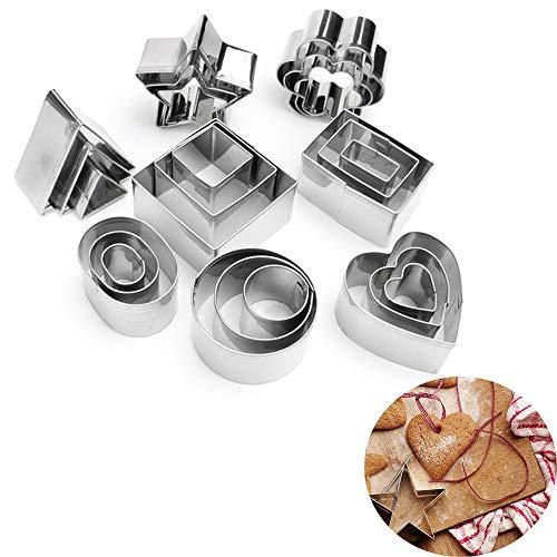 MKNZOME Juego de cortadores de galletas de acero inoxidable de 24 piezas, moldes de flores, estrella, corazón, círculo, cuadrado, triángulo