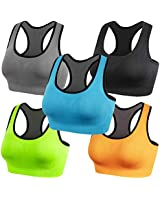 Lykoxa Sports Bra,Seamless Medium Support Sports Bras for Women Plus Size with Removable Pads