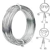 Zoiibuy Alambre para joyas, diámetro de 2 mm, 30 m, alambre de aluminio plateado, alambre para modelar, alambre para manualidades y modelado de piezas de joyería, esculturas de alambre