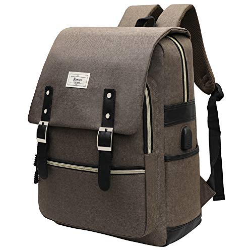Backpack College School Bag Bookbag Fashion Rucksack with USB Charging Port Casual Daypacks Fits up to 15.6'' Laptop