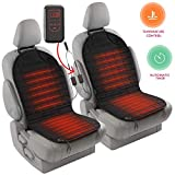 Zento Deals 2pc. Black Heated Car Seat Cushion with 1 Integrated Plug Adjustable Temperature Heating Pad Pain Reliever 12V- New Upgraded Version for 2019, Safer Nonflammable UL Wiring