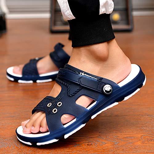 Shukan sandalen voor heren, sandalen voor mannen, sandalen, een woord glijden mannelijk, badkamer, binnen en buiten, antislip sandalen en pantoffels met dubbel gebruik voor strandschoenen met gat
