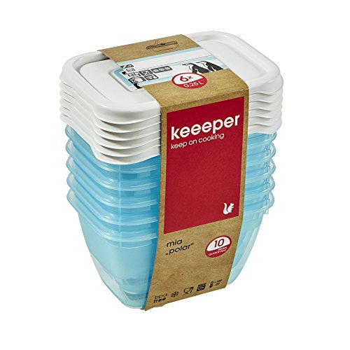 keeeper Tiefkühldosenset 6-teilig, Wiederbeschreibbarer Deckel, 6 x 250 ml, 10,5 x 7,5 x 6 cm, Mia Polar, Eisblau Transparent