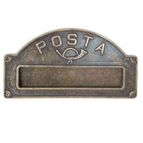 Placca Buca Lettere in Ottone Anticato per Esterno Fissaggio a Parete