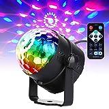 U`king Musikgesteuert Discokugel Blitzlichter, RGB Disco Lichteffekte, 7 Farben Party Lampe mit Fernbedienung für Family Dances Bars Karaoke Wedding Performance Club Weihnachten(1pcs)