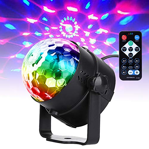 Yoken ステージライト 音声起動 パーティーライト ミラーボール ストロボライト RGBディスコ球形ライト 水晶魔球 リモコン付き バー照明用ライト イベント 文化祭 KTV パーティー用 多機能 LEDライト(1個)