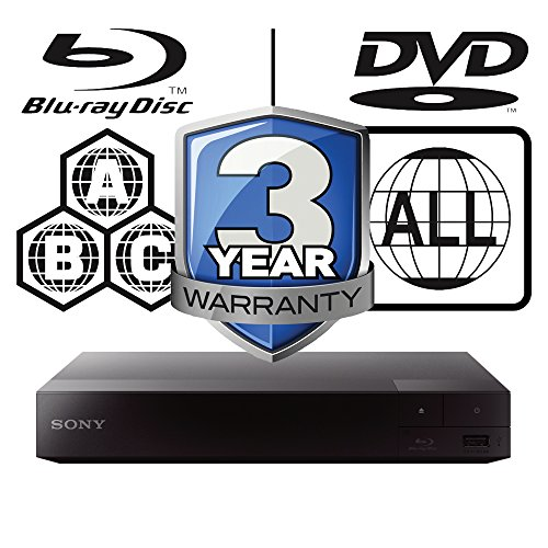 Sony BDP-S3700 Smart WiFi Multi Region All Zone Code Free Blu-ray Player. Blu-ray Zones A, B and C, DVD Regions 1-8. Full HD 1080p DLNA YouTube, Netflix etc HDMI and Coaxial Audio Output