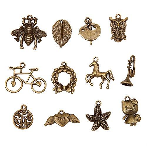 Bingcute Wholesale 100 Pieces Mixed Antique Silver Charms Pendants DIY for...