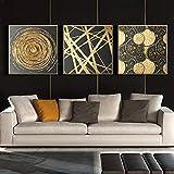 Cuadro en lienzo abstracto dorado redondo arte de pared carteles nórdicos e impresiones imágenes geométricas para la decoración del hogar de la sala de estar-50x50cmx3 No Frame