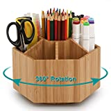 Desktop Bamboo Rotating Organizer, School Home Office Art Supply with 7 Compartments, Storage Caddy for Pencils, Markers, Pens, Scissors, Paint Brushes, Clips & More