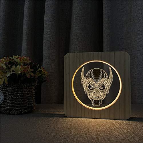 Joker Acryl Holz Nachtlicht Tischlampe Schalter Steuerung Gravierlampe für Kinder zurück in die Schule Dekoration Geschenke