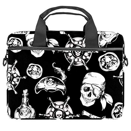 Laptop Bag Black White Pirate Nautical Skull Pattern Notebook Sleeve with Handle 13.4-14.5 inches Carrying Shoulder Bag Briefcase