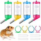 4 Pieces Guinea Pig Water Bottle 2.7 oz Small Animal Water Dispenser for Cage No Drip Hanging Hamster Water Bottle for Small Pet Ferret Hedgehog Hamster Chinchilla