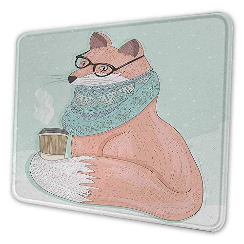 Animal DIY Mouse Pad Niedlicher Hipster Fox mit Brille und Schal Kaffee trinken Hippie Illustration Personalisiert Ihr Gaming Mousepad Coral Mint Green