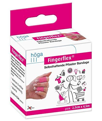 Fingerflex Pink, 2,5 cm x 4,5 m gedehnt, selbsthaftende Pflaster Bandage / Fingerverband