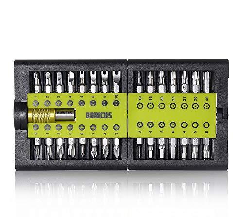 Baricus Bitset 31 tlg. klappbar inklusive Sicherheitsbits, Zubehör für Akkuschrauber und Schraubendreher, Material S2 matt Chrom, B-WARE QV90222