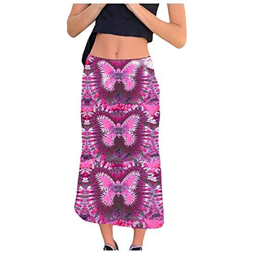 Liably Y2K - Falda de estilo bohemio para mujer, estilo informal morado XXL