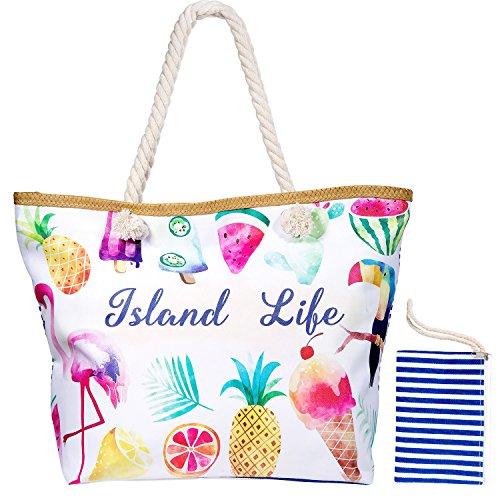 MOOKLIN Borsa da spiaggia grande in Tela Borse a spalla Borse a zainetto Borse Tote Borse a tracolla con Chiusura Zip per Donna e Ragazza - Island Life