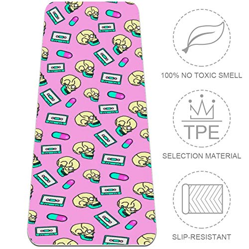 ASDFAS Skull and Magnetic Tape All-in-One Yoga Mat | Luxury Sweat-Grip Mat/Eco-Friendly Natural Rubber | Best for Yoga, Pilates, Exercise, Workout, Bikram and Hot Yoga,32x72 in