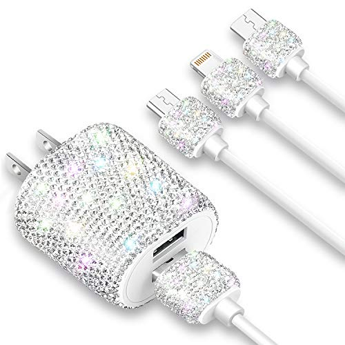 Bling USB Wall Charger with Charging Cable,Fast Block for iPhone Android,3-in-1 Multi Charger Cable Micro USB Type C Multiple USB Cord with Crystal Decoration,Cell Phone Accessories for Women,Girls