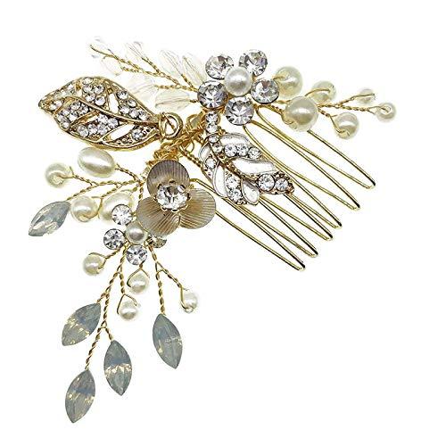 Peigne de Cheveux de mariée Bendable Crystal Accessoire de Cheveux pour Les Femmes Mariage pièce de tête Peigne de Cheveux côté (Golden, Onesize)