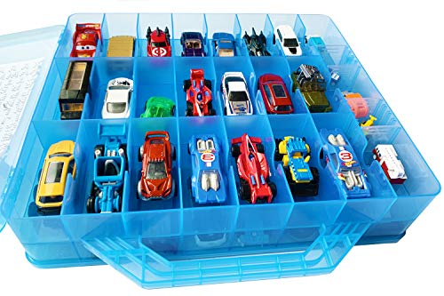 HOME4 Double Sided BPA Free Toy Storage Container - Compatible with Hot Wheels, Mini Toys, Small Dolls - Toy Organizer Carrying Case - 48 Compartments (Blue)