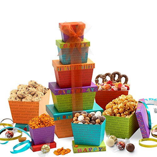 Broadway Basketeers Happy Birthday Celebration Gift Tower