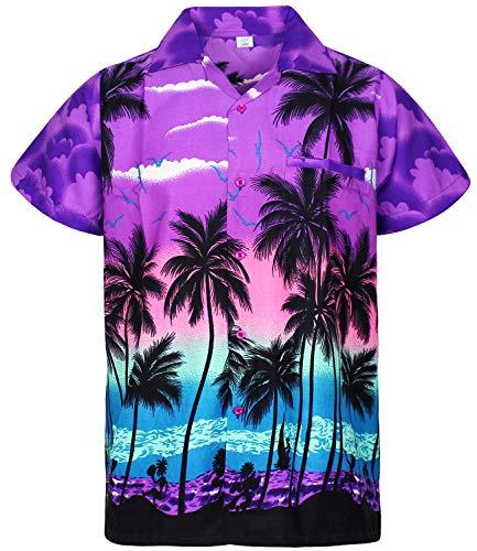V.H.O. Funky Camisa Hawaiana, Beach, Morado, XS
