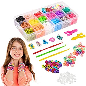 Liberry Colored Rubber Bands Bracelet Making Kit with Loom Bands Storage Container. Great Gifts for Girls and Boys, No…