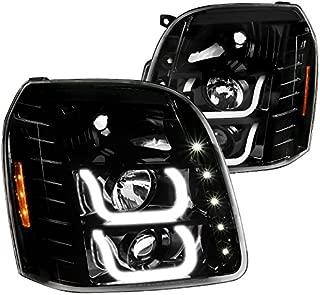 GMC Yukon Denali XL Jet Black LED Halo Clear Projector Headlights Head Lamps