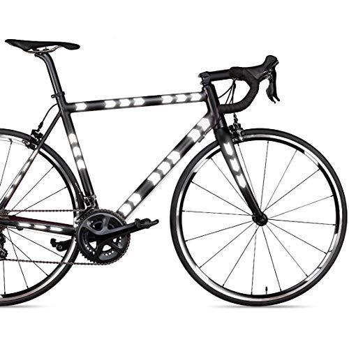 Blackshell® Reflektoren Aufkleber – 62 TLG. Set für Fahrradrahmen, Aufkleber Fahrrad für Felgen, Helm, Kinderwagen und alle glatten Oberflächen - Reflektoren Fahrrad in schwarz