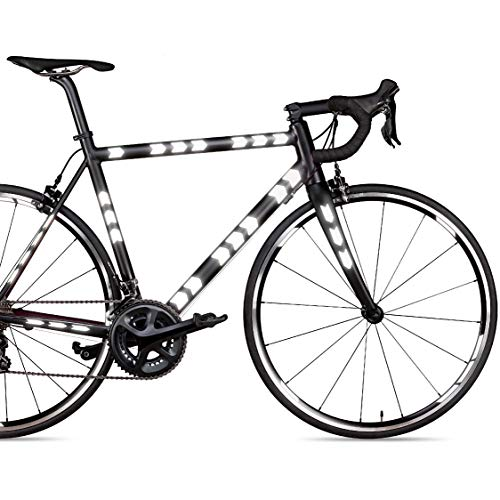 Blackshell Reflektoren Aufkleber – 113 TLG. Set für Fahrradrahmen, Felgen, Helm, Kinderwagen und alle glatten Oberflächen - Selbstklebende Reflexfolien in schwarz