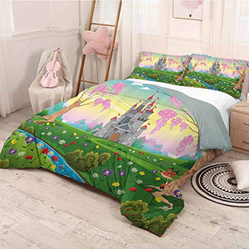 HELLOLEON Cartoon Decor Pure Bedding Hotel Luxury Bed Linen Fairy Tale Castle Scenery in Floral Garden Princess Kids Girls Fantasy Picture Polyester - Soft and Breathable (Twin) Multi