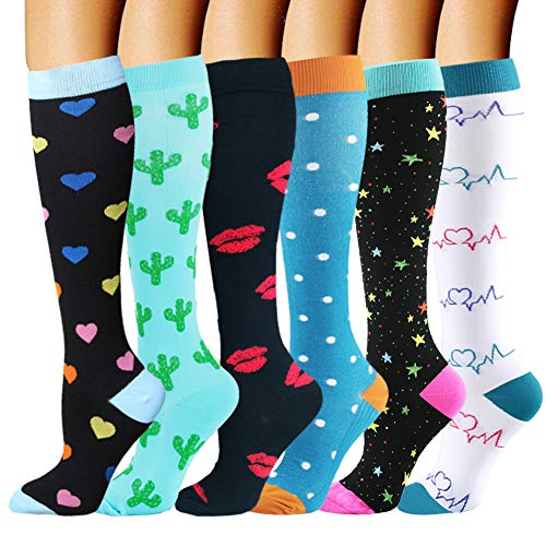 Campsnail Kompressionsstrümpfe für Damen und Herren Stützstrümpfe Thrombosestrümpfe Medizinisch für Schwangerschaft Sport Flug Anti-Thrombose Socken (6 Paar - Mehrfarbig 01, L-XL)
