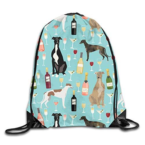 Galgos y vino – Celebración de perros y vinos – Mochila con cordón con estampado 3D azul mochila de hombro bolsa de gimnasio casual running