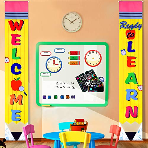 Back to School Decoration First Day of School Banner Welcome School Bulletin Board Porch Sign Welcome Classroom Banner Teacher Banner for Indoor/Outdoor School Decoration School Party (Yellow)