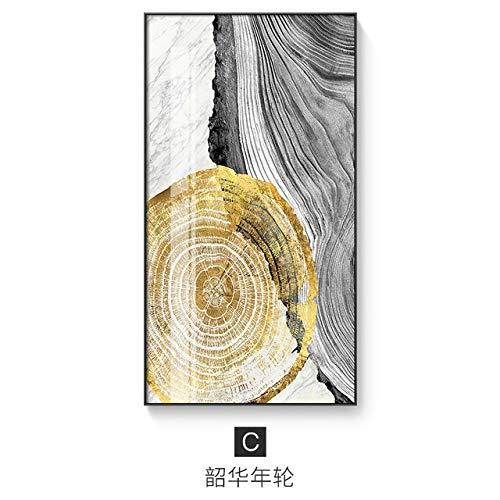 XUML Abstract Licht Gouden Canvas Schilderij Zwart en Wit Posters en Print Modern Decor Wall Art Foto's voor Woonkamer Aisle 25x46cm(No frame) C