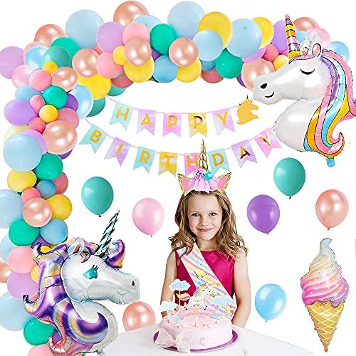 Globos Unicornios Decoración de Fiesta de Cumpleaños Feliz con Globos de papel de unicornio diadema globos en forma de Corazón Fijados para Niñas Niños Encantador Tema de Color Rosa Púrpura
