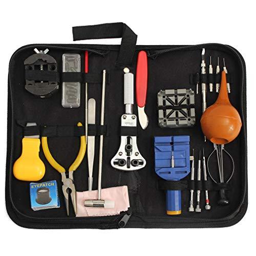 23 Piezas Kit de Herramientas de reparación de Relojes Estuche Kit de Herramientas de reparación de Relojes Piezas de Destornillador de Palanca Negro